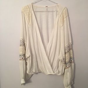 Free people drape top with wide sleeves
